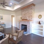 Solid Wood Built-in Shelving And Gas Fireplace